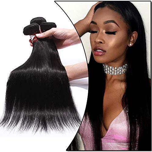 Tissage Bresilien en Lot de 3 Cheveux Naturel Lisse Cheveux Humains Vierges 300g - #1B Noir Naturel - 22\
