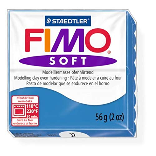 Staedtler Fimo Soft Pacific Blue (37) Oven Bake Modelling Clay Moulding Polymer Block Colour 56g by Staedtler