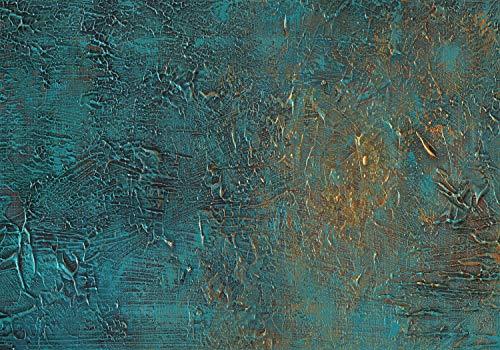 decomonkey Fototapete selbstklebend Steinwand Stein 392x280 cm XL Selbstklebende Tapeten Wand Fototapeten Tapete Wandtapete klebend Klebefolie Mauer Beton Textur türkis grün gold