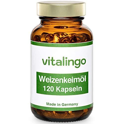 Weizenkeimöl Kapseln - kaltgepresst, hochdosiert - enthält von Natur aus Spermidin, Omega 3, Omega 6, Vitamin A, B, D, K