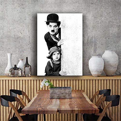 nr Schwarz-Weiß-Klassiker Charles Chaplin Filmplakat Wandbild Leinwand Kunstdruck Kunstwerk Malerei Dekor 60X90cm No Frame