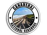 JR Studio 4x4 inch Round Canaveral National Seashore Sticker (Florida fl Beach Atlantic) Vinyl Decal Sticker Car Waterproof Car Decal Bumper Sticker