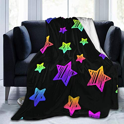 AIKIBELL Ultra-Soft Micro Fleece Blanket,Abstract Black and Rainbow Seamless Pattern Background,Home Decor Warm Throw Blanket for Couch Bed,50'X 40'
