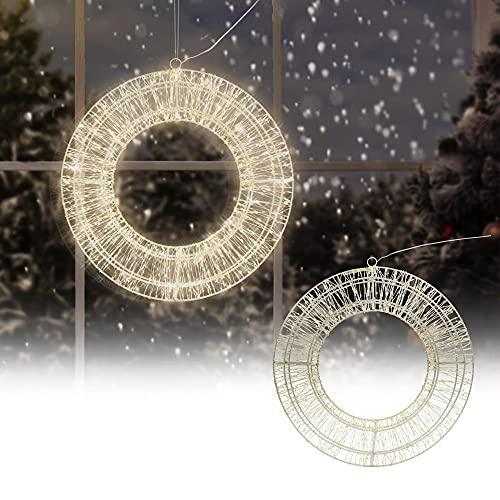 ECD Germany LED Metall Kranz Ø38cm mit 900 LEDs, Warmweiß, Hängekranz mit Timer, IP44 Wasserdicht, Innen/Außen, Strombetrieben, Weihnachtskranz Lichterkranz Türkranz Weihnachten Deko LED Lichterkette