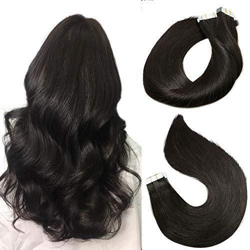 Tape in Remy MenschenhaarVerlängerungen 20pcs 50g pro Satz #1B Natural Black Remy Haarverlängerungen Seamless Skin Remy Silk glattes Haar-Tape in Extensions Human Hair 16 Zoll/40 CM