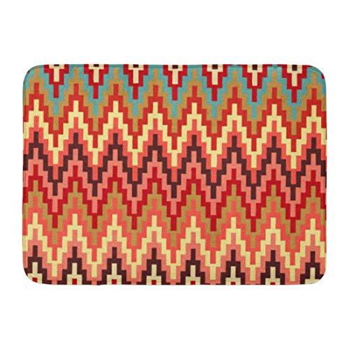 LnimioAOX Badematte Tribal Earth Tones Ikat Chevron Zick-Zack-Muster Zick-Zack Badezimmer Dekor Teppich
