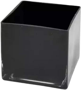 "Black Square Glass Vase, Flower Vase, Vase for Living Room Decoration - Cube Shape, 4""x4"", 4"" Tall, Square Vase"
