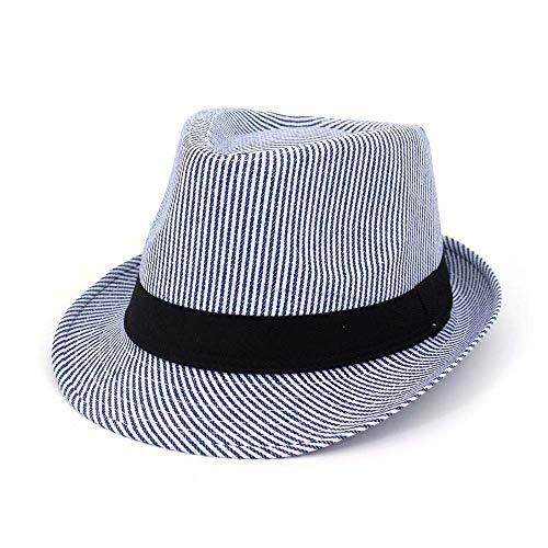 Xuguiping Jeugd-Mode-Wilder Jazz-hoed vizier Fedora-hoed manneshoed vrouwen paar gestreepte mode-hippie 56-58cm blauw