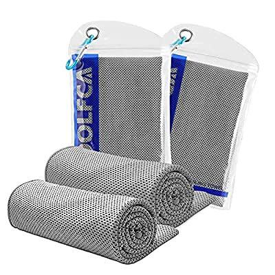 Instant Cooling Neck Wraps 2Pack, (40'x12') Cool Towels for Face/Neck - Keep Cooling in The Heat - Long Soft Breathable Relief Stay Ice Towel Fit Sport Yoga Running Gym Golf Fitness Workout