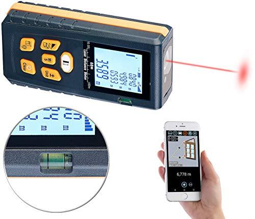 AGT Professional Lasermessgerät: Laser-Entfernungsmesser mit LCD & Bluetooth, Messbereich 5 cm - 60 m (Laser Wasserwaage)