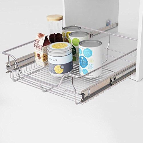 Gawany Wysuwana szuflada do zabudowy, teleskopowa szuflada kuchenna, szuflada do sypialni, kosz druciany, kolor srebrny, do szafki kuchennej o szerokości 500 mm, kolor srebrny