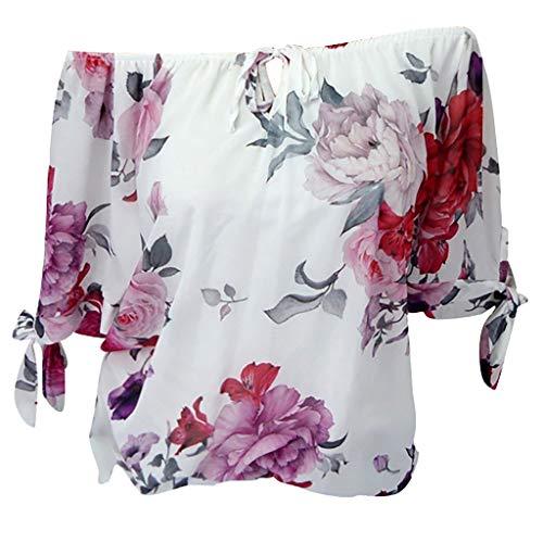 Andouy Damen - Oberteil mit Blumenmuster und kurzen Ärmeln Plus Size Schulterfreies Spitzen-Hemd Gr.36-50(5XL(50),Weiß)