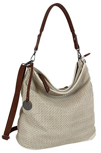 J JONES JENNIFER JONES Damen Tasche Schultertasche Große Umhängetasche in 5 Farben Handtasche für Frauen Sommer Design Crossbody (3126) (Natur)