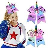 DEEKA Large Unicorn Cheer Hair Bows 2 Pack 7' for Teen Girls Cheerleader Sports