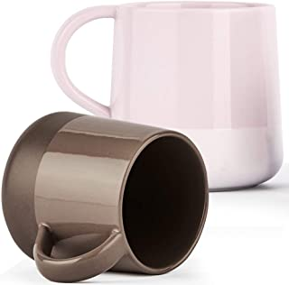 ZENS 13.5 Ounce Coffee Mugs Smooth Matte Finsh,2 Porcelain Cappuccino Mugs Set Assorted Colors,Unique Tea Cups Mug for Women,Men and Couples,Pink & Brown