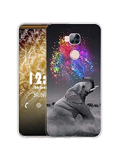 Sunrive Kompatibel mit Huawei GX8/G8 Hülle Silikon, Transparent Handyhülle Schutzhülle Etui Hülle (Q Elefant 2)+Gratis Universal Eingabestift MEHRWEG