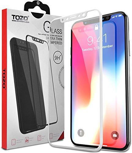 Tozo für iPhone X Displayschutzfolie Glas [3D Full Rahmen] Technologie Premium gehärtetes Härtegrad 9H 2.5D Pet [Soft Edge Hybrid] Super einfach auftragen [weiß]