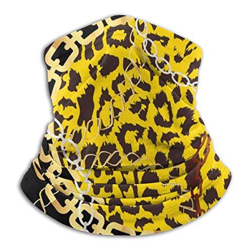 shenguang Cheetah Leopard Tierhaut mit goldenen Ketten Gesichtsmaske Bandana für Sonnenstaub Wind Stirnband für Männer Frauen Hals Gamasche Rave Gesichtsmaske für Motorradfahren Biker Radfah