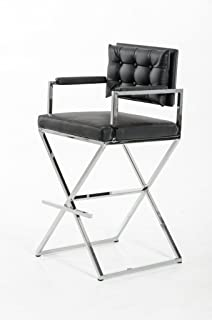 Limari Home The Caradoc Collection Directors Chair Style Leatherette Chrome Metal Frame Contemporary Industrial Barstool With Back and Arms, Black