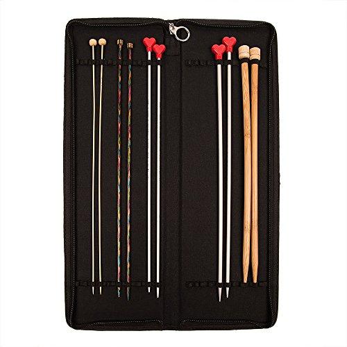 KnitPro KP10741 Boîte d'aiguilles dures de Tricotage, Coton par Jacquard, Bois, Multicolore, 22 x 0,4 x 5 cm