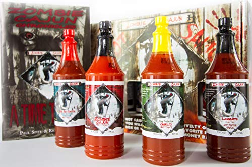 Zombie Cajun Hot Sauce Gift Set Gourmet Basket Includes 4 6oz Bottles of the Best Louisiana Hot Sauce  Garlic Jalapeno Habanero and Cayenne Pepper Plus a  Zombie Gifts Book