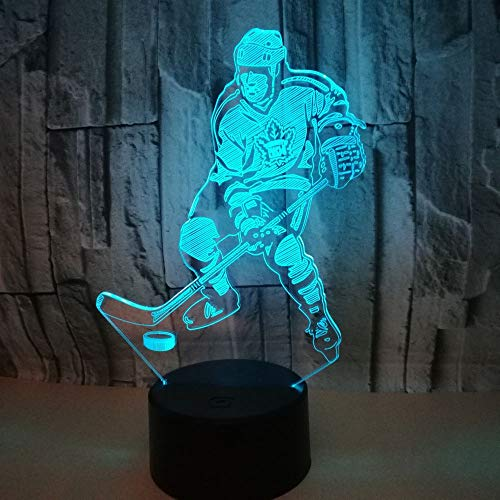 3D Lampe Hockey Spieler Nachtlicht Optische Illusions, 7 Farbwechsel Acryl Berühren Led Tabelle Schreibtisch Lampe Für Kinder Schlafzimmer Dekoration Geburtstagsgeschenke