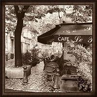 ポスター アラン ブラウステイン Cafe Provence 額装品 ウッドハイグレードフレーム(ホワイト)