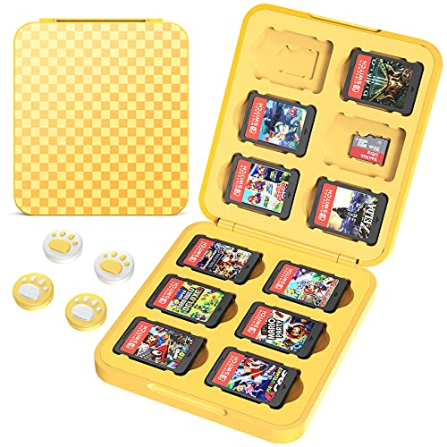HEYSTOP Game Card Case Compatible with Nintendo Switch Games,12 Slot Storage Protective Box, Slim and Portable Protective Shell Switch Storage Cartridge with 4 Joy-Con Thumb Caps, Yellow