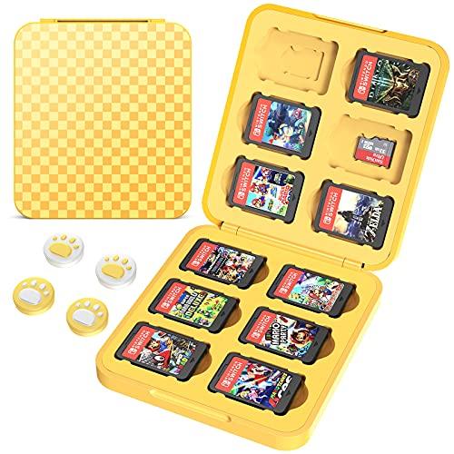 HEYSTOP Funda de Juegos para Nintendo Switch & Switch Lite hasta 12 Juegos de Nintendo Switch Organizador de Tarjeta, Estuche para Nintendo Switch Game Cards con Agarres para el Pulgar, Amarillo