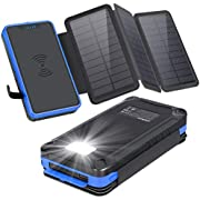 XIYIHOO Solar Power Bank 20000mAh,Solar Ladegerät Wireless Ladegerät Kompatibel Qi-fähige Telefone & Dual Ports 2.1A Ausgang Smartphones für Camping Travel (Orange)