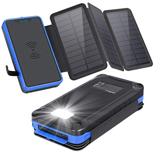 xiyihoo Powerbank Solar 26800mAh, Solar Ladegerät Wireless mit 3 Solarpanel, Kompatibel Qi-fähige Telefone & Dual Ports 2.1A Ausgang für Smartphones, Handys, Outdoor Aktivitäten