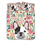 HUGS IDEA Ultra Soft Bedding Sets French Bulldog Flower Pattern 3 Piece Comforter Duvet Cover Breathable Machine Washable Queen(88in x 88in)