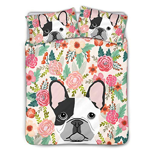 HUGS IDEA Ultra Soft Bedding Sets French Bulldog Flower Pattern 3 Piece Comforter Duvet Cover Breathable Machine Washable Twin(68in x 88in)