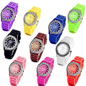 Lancardo Wholesale Lots of 10 Silicone Rubber Gel Jelly Women Wrist Watches