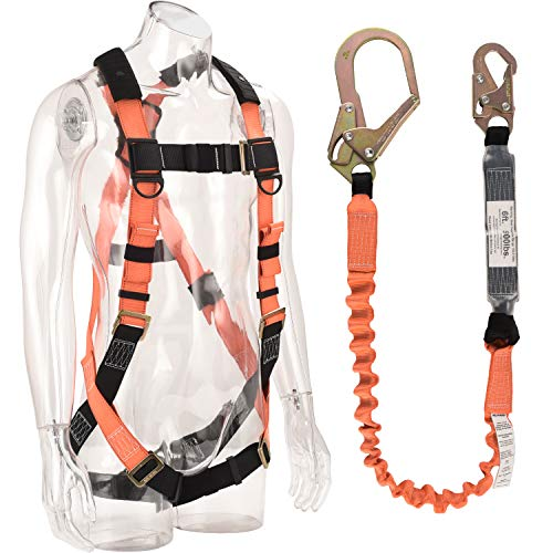 WELKFORDER 1 D-Ring Industrial Fall Protection Safety Harness Kit With Single Leg 6-Foot Shock Absorber Stretchable Lanyard [1 Snap&1 Rebar Hook] ANSI Compliant Personal Fall Arrest System(PFAS)