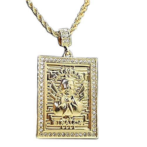 14K Gold Plated Jesus Malverde Chain Square Bling Pendant Sinaloa Narco Saint Rope Necklace 30""