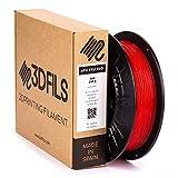 3DFILS - Filamento flexible para impresión 3D eFil TPU 60D: 1.75 mm, 250 g, Rojo