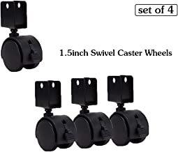 Ayj 40mm No Noise casters, Furniture Caster Wheels with Brakes, Swivel castors for Cribs, U-Shaped Plate, Nylon, wear-Resistant, 16-25mm Pitch (Set of 4)