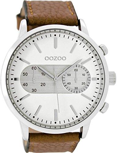 Oozoo Herrenuhr mit Lederband 49 MM Weiss/Braun C9055
