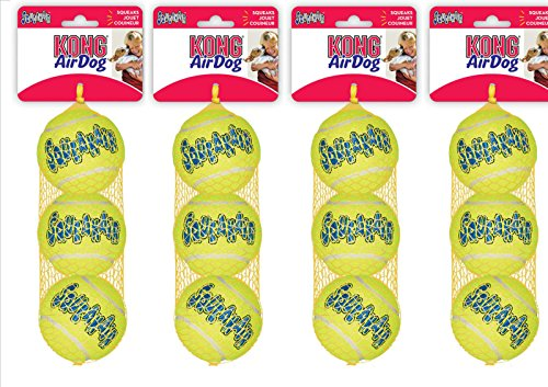 Kong AirDog Quietschspielzeug/Tennisball für Hunde, Standardgröße, 12Stück