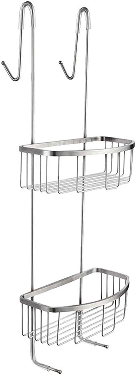 Bathroom Punch-Free Wall Hanging Storage Rack Double Stainless Steel Hanging Basket