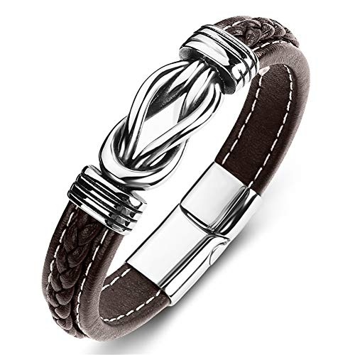 LF His Her Stainless Steel Brown Genuine Leather Celtic Knot Cuff Bracelet Bangle with Magnetic Clasp for Men Women for Engagement Anniversary Birthday Gift