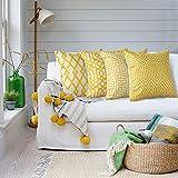 Artscope - Juego de 4 fundas de cojín decorativas, 45 x 45 cm, algodón, lino, cojín dec...