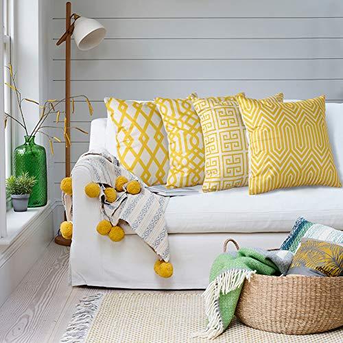 Artscope - Juego de 4 fundas de cojín decorativas, 45 x 45 cm, algodón, lino, cojín decorativo, funda para sofá, coche, dormitorio, hogar decoración (geometría I)