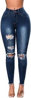 Fashion Denim Hole Female Mid Waist Stretch Slim Sexy PencilJeans Pants Trousers Women