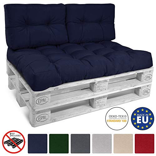 Beautissu Cojines para palés, sofá-Palet y europalet Eco Style - Cojines de Apoyo Acolchado 2X 60x40x10-20 cm Color: Azul Marino Elegir in/Outdoor