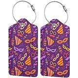Etiquetas de equipaje con patrón de carnaval gratis, para maleta, carry-on de equipaje con correas ajustables para viajes y negocios, juego de 2
