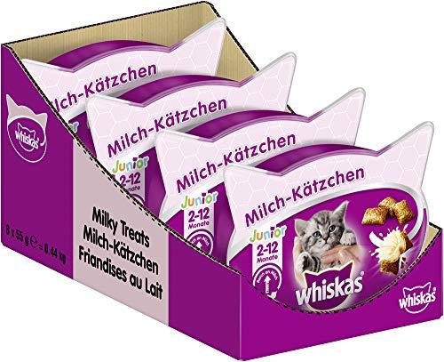 Whiskas Junior Milchkätzchen Katzensnacks für junge Katzen, 8er Pack (8 x 55 g)