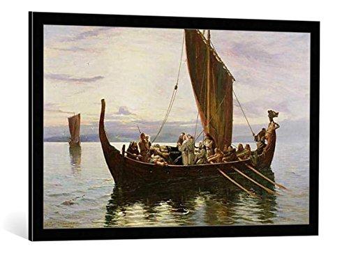 """Kunst für Alle Cuadro con Marco: Robert Gibb The Last Voyage of The Viking 1882"""" - Impresión artística Decorativa con Marco, 95x60 cm, Negro/Canto Gris"""
