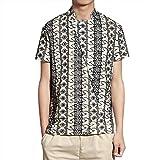 CAOQAO Camisa Hombre Manga Corta Camisa Corta del Estilo Chino de la Moda Casual Simple de los Hombres del Comercio Exterior